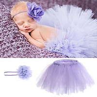 Baby Newborn Photography Props Baby Crochet Outfits Princess Baby Tutu Skirt with Headband Purple Baby Photography Accessories