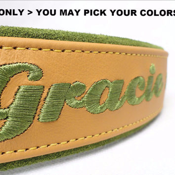 "Dog collar: Leather w/ Suede - 1-1/2"" Wide - Personalized - Adjustable  (Sizes from 16-24) Example 1"