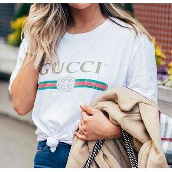 GUCCI classic summer tide brand men and women breathable comfortable short-sleeved T-shirt
