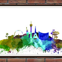 Las Vegas Skyline Print, Watercolor Art, Las Vegas Art, City Poster, City Skyline, Wall Art, Las Vegas Cityscape, Home Decor *22*