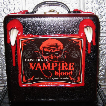 glow in the dark vampire cigar box purse tote with fangs  and dripping blood