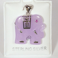 Lavender Jade Carved Elephant Pendant with Sterling Silver Accents Bail