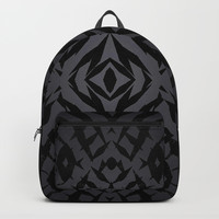 Grey tribal shapes pattern Backpacks by Steve Ball