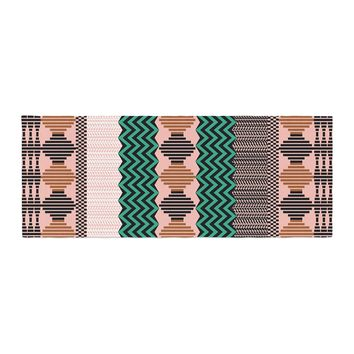 """Akwaflorell """"Knitted 2"""" Green Coral Pattern Bed Runner"""
