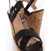 Black Woven Faux Leather Strappy Wedges