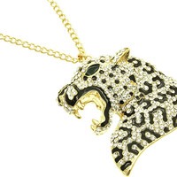 NECKLACE / LINK / METAL / CRYSTAL STONE PAVED / EPOXY / ANIMAL / LEOPARD / 3 1/4 INCH DROP / 18 INCH LONG / NICKEL AND LEAD COMPLIANT