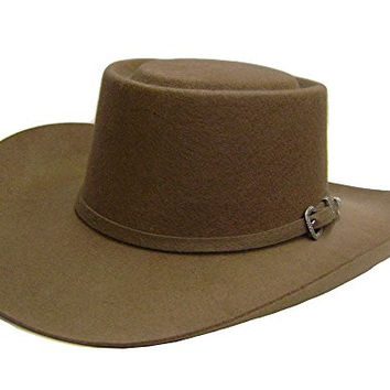 Modestone Men's Gambler Wool Felt 3 Pc Buckle Hatband Thin Brim Cowboy Hat 57 Brown