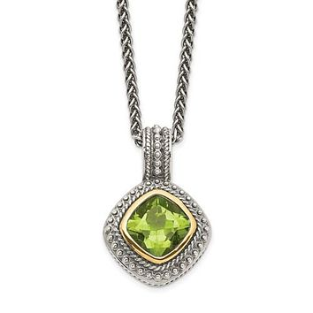 Sterling Silver With 14k Gold Accent 8mm Cushion Peridot Pendant Necklace