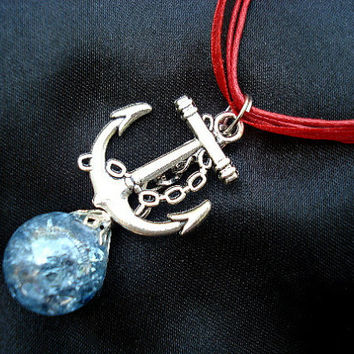 Anchor Blue Glass Fried Marble Red Ribbon Necklace