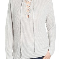 BP. Lace-Up Hooded Sweater | Nordstrom