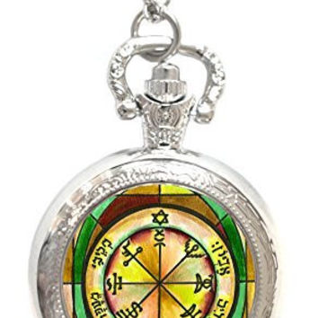 Solomons 7th Seal of Jupiter for Power Against Poverty Xl Locket Silver Necklace Pocket Watch