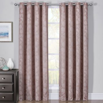 100% Blackout Curtain Panels Fannie - Woven Jacquard Triple Pass Thermal Insulated (Set of 2 Panels)