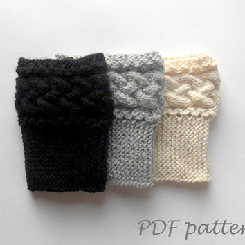 PDF Knit PATTERN - Braided Boot Toppers Cable Knit Boot Cuffs Pattern Boot Socks Pattern Knit Leg Warmers Knit Cables - P0053