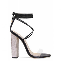 Karla Black Snake Clear Lace Up Diamante Heels : Simmi Shoes