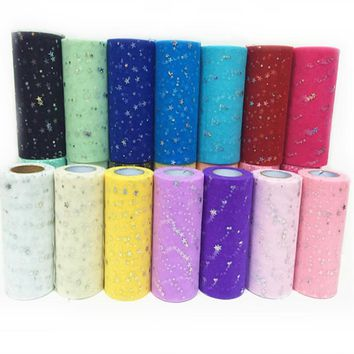 25yard 15cm Glitter Tulle Roll Sequin Organza Spool Tutu Wedding Decoration DIY Craft Unicorn Flamingo Birthday Party Supplies,8