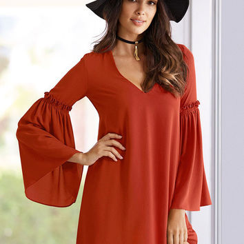 BoHo Red Bell Sleeve Shift Dress