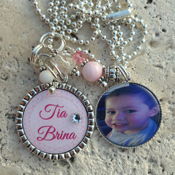 Fully Customizable Personalized Double Bezel Pendant Necklace Beaded Necklace Photograph Custom Names Bottle cap Gifts for her Gifts for Him