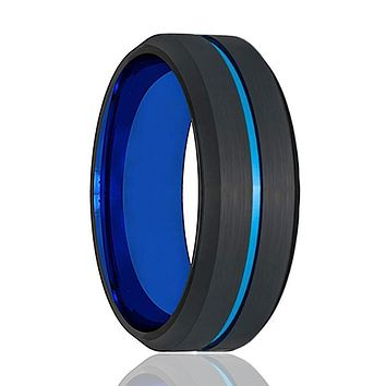 ATOM Men's Black Brushed Tungsten Wedding Band with Blue Grooved Center & Beveled Edges - 8MM