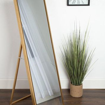 Modern Freestanding Full Length Rectangular Mirror (Gold)