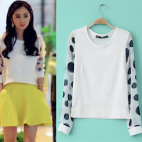 White Dot Print Sleeve Chiffon Blouse