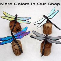 Green Iridescent Dragonfly Stained Glass Sculpture on Wood Base