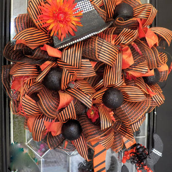 Wicked Witch Halloween Wreath, Halloween Wreath, Deco Mesh Wreath, Halloween Decoration