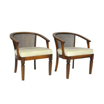 Pre Owned MCM Cane Horse Shoe Barrel Chairs   A Pair