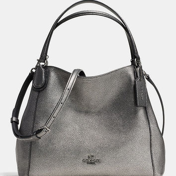 COACH EDIE SHOULDER BAG 28 METALLIC PEBBLE LEATHER | Dillards
