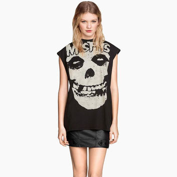 Street fashion Misfits skull print black punk rock tank tops women vest sleeveless casual t shirts