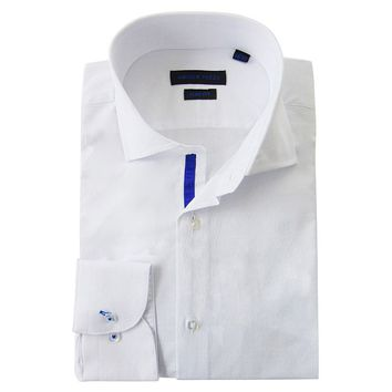 Andrew Fezza Slim-Fit Solid Textured Spread-Collar Dress Shirt - Men, Size: