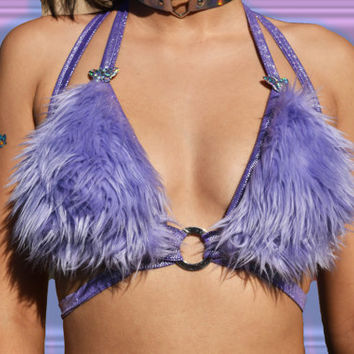 Purple Fur Bra | Purple Rave Top | Purple Rave Bra | Wrap Top | PlayBoy Top | 90s Caged Bra | Dominatrix Attire | Club