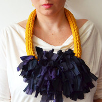 Long Knitted Statement Necklace in Sari Silk and Cotton Yarn