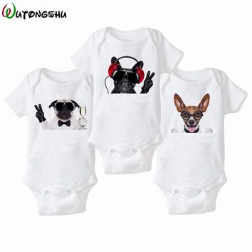 3pcs/Lot Animal Cat Dog White Newborn Baby Bodysuit Infant Jumpsuit Overall Short Sleeve Body Suit Baby Clothing Set Summer