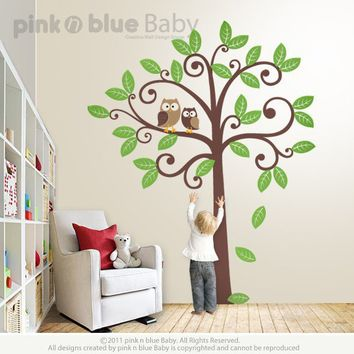 Owls and Swirly Tree Nursery Kids Removable by pinknbluebaby