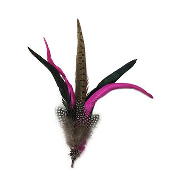 Deluxe German themed Hat Pin w/ Purple & Brown Feathers