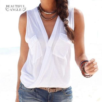 Fashion 2018 Hot Summer Women Vest Top Sleeveless Patch Pocket Blouse Casual Tank Tops T-Shirt Cover up Femme Blusas