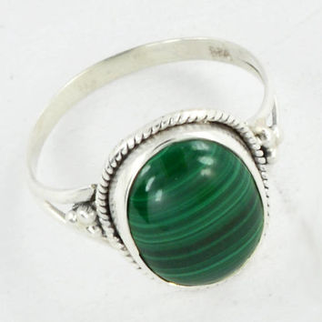 Malachite Ring, Silver Ring,925 Sterling Silver Ring, Special Ring, Silver Stone Malachite Gemstone Ring Size US 6 7 8 9 10,Solitaire Rings