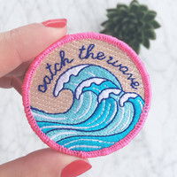 Surf - Wave Patch / Iron-On, Embroidered Patch / Applique – Catch the Wave – Beach Vibes