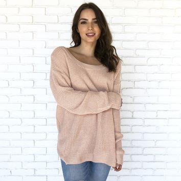 Give It A Twist Knit Sweater In Pink