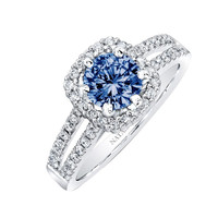 Blue & white round halo diamond 1.76 carats engagement ring white gold 14K