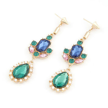 Exaggerated Bohemian Style Gorgeous Gemstone Rivet Earring, Drop Dangle Earring, Birthday Gift, Party Jewelry,Valentine's Day Gift 10061166