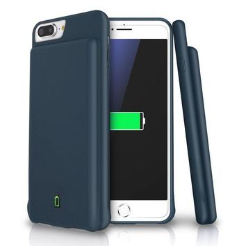 ESBON8C iPhone 8 Plus / 7 Plus / 6s Plus / 6 Plus Battery Case, LoHi 7000mAh Capacity Support Headphones Ultra Slim Extended Battery Rechargeable Protective Portable Charger 5.5' Navy Blue