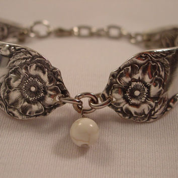 A Ridiculously Beautiful Spoon Bracelet With a Whitish Bead Handmade Spoon Jewelry by Spoon Rings Plus b102