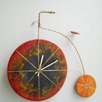Bicycle wall clock, retro bicycle clock, ceramic wall clock of penny farthing bicycle, black and orange, retro bicycle, rustic boho