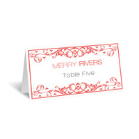 Wedding Place Cards Editable PDF Template - Coral Flourish Heart Damask Foldover Printable Escort Card - Avery 5302 - DIY You Print