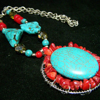 Turquoise Red Coral Bead Pendant, Boho Beaded Necklace, Southwestern Style Jewelry 118