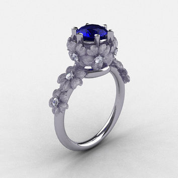 14K White Gold Blue Sapphire Diamond Flower Wedding Ring, Engagement Ring NN109S-14KWGDBS