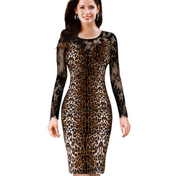 Sexy Club Dress With Lace Long Sleeve Knitting Sheath Female Autumn Leopard Pattern Dress Knee Length Dresses B204
