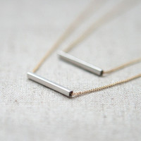 Silver bar layered Necklace with gold chain by laonato on Etsy