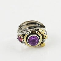 Amethyst & Garnet Two Tone Artisan Crafted Ring